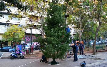 Εξάρχεια: Χριστουγεννιάτικο δέντρο και παρέμβαση καθαριότητας - αποκατάστασης στην πλατεία