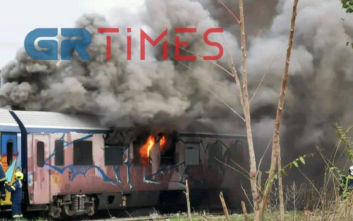 Θεσσαλονίκη: Ξέσπασε φωτιά σε βαγόνι τρένου