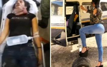 Σκληρές εικόνες: Βασίλισσα του υποκόσμου ψυχορραγεί μετά από μάχη με αστυνομικούς