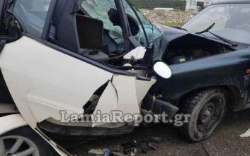Λαμία: Δύο τραυματίες από μετωπική σύγκρουση αυτοκινήτων