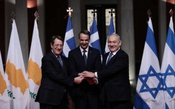 EastMed: Σε εξέλιξη η τριμερής συνάντηση Ελλάδας, Κύπρου και Ισραήλ