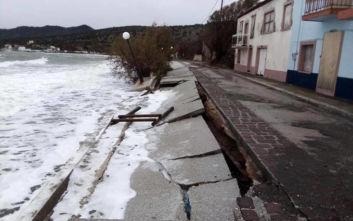 Εικόνες καταστροφής στη Λέσβο: Κλειστά τα σχολεία λόγω της κακοκαιρίας