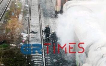 Φωτιά σε βαγόνια τρένου στη Θεσσαλονίκη