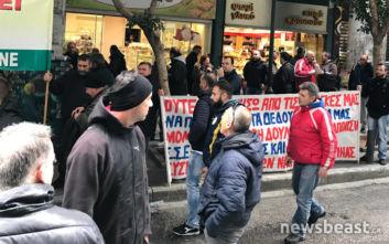 Διαμαρτυρία εργαζομένων στα ναυπηγεία στο υπουργείο Ανάπτυξης