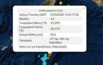 Σεισμός στα Δωδεκάνησα κοντά στην Κάρπαθο