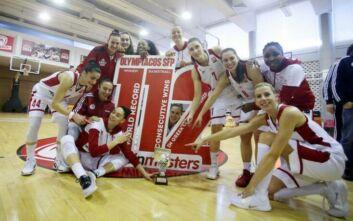 Παγκόσμιο ρεκόρ με 112 σερί νίκες έκανε η ομάδα μπάσκετ γυναικών του Ολυμπιακού