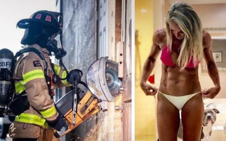 Κορίτσια που ποζάρουν με και χωρίς στολή εργασίας