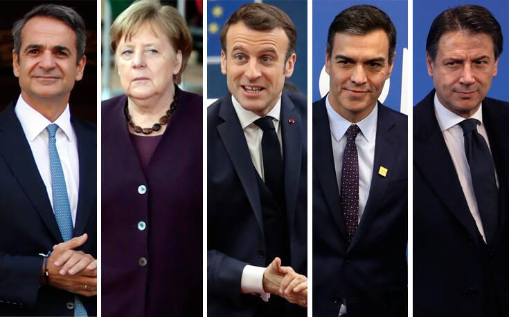 Συνάντηση Μητσοτάκη, Μακρόν, Μέρκελ, Σάντσεθ, Κόντε για τον ευρωπαϊκό προϋπολογισμό
