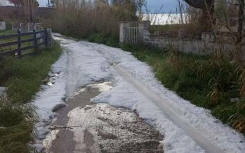 Το χαλάζι που έπεσε στη Σύρο θύμιζε χιόνι