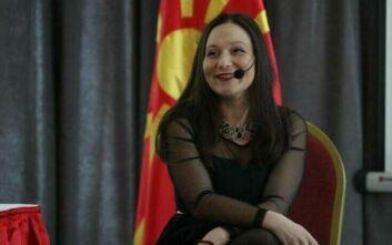 Συνεχίζει την πρόκληση με την πινακίδα «Δημοκρατία της Μακεδονίας» η υπουργός Εργασίας στα Σκόπια