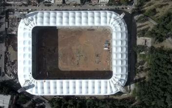 Σκεπάστηκε πλήρως η «Αγιά Σοφιά» και οι εικόνες από το γήπεδο της ΑΕΚ καθηλώνουν