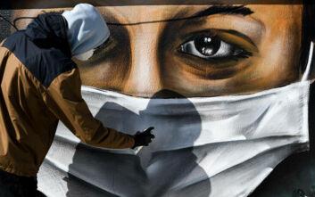 Εντυπωσιακό γκράφιτι 16χρονου σε ταράτσα της Αθήνας εμπνευσμένο από τον κορονοϊό