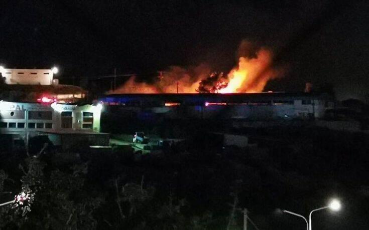 Μυτιλήνη: Στις φλόγες εγκαταστάσεις ΜΚΟ