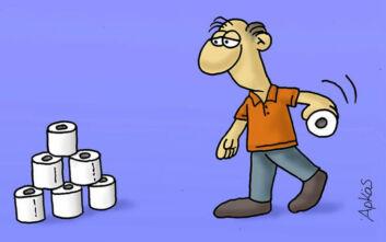 Η καλημέρα του Αρκά με το σκίτσο για το χαρτί υγείας και τον κορονοϊό