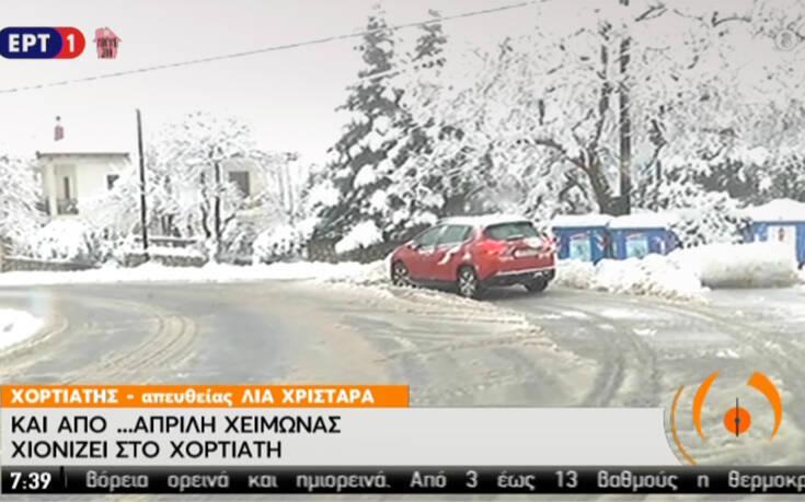 Καιρός: Χιόνιζε όλη νύχτα στον Χορτιάτη, «μάχη» δίνουν 11 εκχιονιστικά στο οδικό δίκτυο