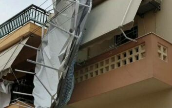 Ο αέρας πήρε και σήκωσε πισίνα από ταράτσα στην Κρήτη