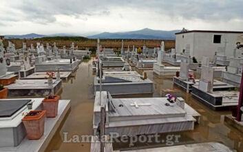 Λαμία: Τα νερά του ποταμού Σπερχειού μπήκαν στο νεκροταφείο της Ανθήλης