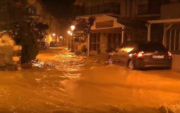 Πλημμύρες στη Σκιάθο από την κακοκαιρία