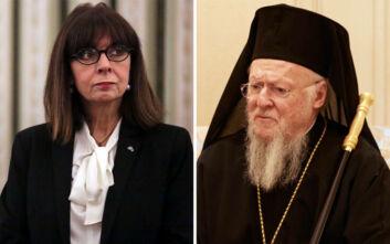 Τηλεφωνική επικοινωνία Σακελλαροπούλου με τον Οικουμενικό Πατριάρχη Βαρθολομαίο