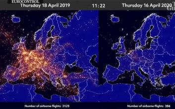 Έτσι άλλαξε ο κορονοϊός τον ουρανό της Ευρώπης