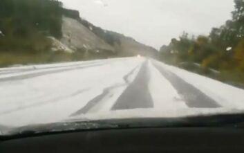 Απίστευτες εικόνες στη Χαλκιδική: «Λευκό» τοπίο... από το χαλάζι