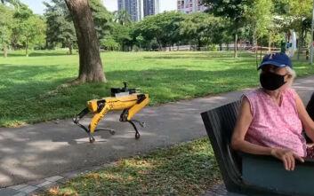 Εικόνα από το μέλλον: Ρομπότ περιπολούν σε πάρκα και κάνουν παρατηρήσεις σε όσους δεν κρατούν αποστάσεις