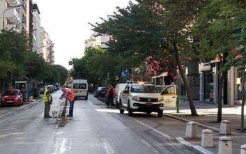 Απομακρύνθηκαν διαχωριστικά πασαλάκια από την οδό Ερμού στο κέντρο της Θεσσαλονίκης