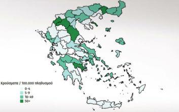 Ο αναλυτικός χάρτης με τα κρούσματα στην Ελλάδα από την αρχή της πανδημίας μέχρι σήμερα