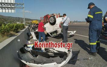 Σοκαριστικές εικόνες από τροχαίο στην Κόρινθο: Αναποδογύρισε αυτοκίνητο στην Εθνική Οδό