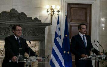 Μητσοτάκης - Αναστασιάδης με φόντο τις διερευνητικές Ελλάδας - Τουρκίας και την αναβληθείσα Σύνοδο Κορυφής της ΕΕ