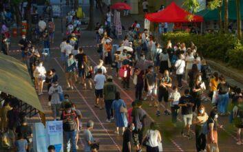 Συμβολική ψήφος διαμαρτυρίας από κατοίκους του Χονγκ Κονγκ κατά της Κίνας
