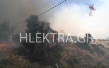 Απίστευτο βίντεο από τη φωτιά στις Κεχριές: Ελικόπτερο έβρεξε... κάμεραμαν