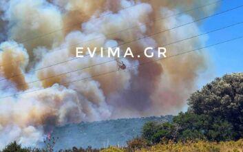 Ανεξέλεγκτη η φωτιά σε οικισμό στην Κάρυστο - Εκκενώνονται κατοικίες
