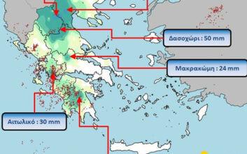 Πάνω από 1.200 κεραυνοί σε Δυτική Στερεά και Πελοπόννησο