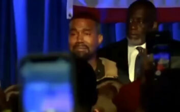«Λύγισε» ο Κάνιε Γουέστ στην πρώτη του προεκλογική συγκέντρωση και ξέσπασε σε κλάματα