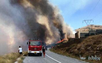 Φωτιά στην Άνδρο: Οι πρώτες εικόνες - Σε ετοιμότητα οι Αρχές για εκκένωση οικισμών