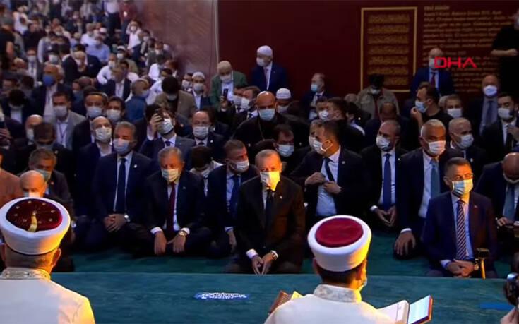 Αγία Σοφία: Έφτασε ο Ταγίπ Ερντογάν, αρχίζει σε λίγο η μουσουλμανική προσευχή