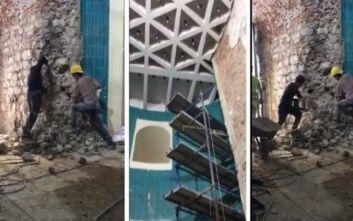 Οργή για την «αποκατάσταση» του Πύργου του Γαλατά με ηλεκτρικό τρυπάνι