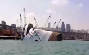 Κρουαζιερόπλοιο βυθίστηκε μετά τις εκρήξεις στη Βηρυτό