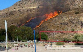 Μεγάλη φωτιά τώρα μεταξύ Πέτρας και Μολύβου στη Λέσβο