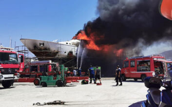 Φωτιά και έκρηξη σε ναυπηγείο στη Σύρο: Θαλαμηγός έγινε στάχτη