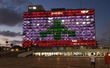 Το δημαρχείο του Τελ Αβίβ στα χρώματα του Λιβάνου: Αντιδράσεις στο Ισραήλ λόγω των σχέσεων των δύο χωρών