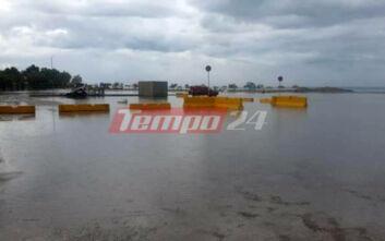 Πλημμύρισε η παραλιακή ζώνη του Ρίου - Παρατείνονται οι κυκλοφοριακές ρυθμίσεις στην Αχαΐα