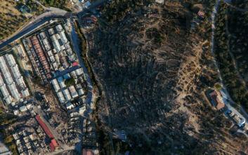 Εικόνες από ψηλά από το καμένο Κέντρο Υποδοχής στη Μόρια - Μαυρίλα και μυρωδιά καμένου παντού
