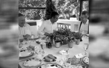 Γεύμα εργασίας του Κυριάκου Μητσοτάκη με τον Μάικ Πομπέο στο πατρικό του πρωθυπουργού