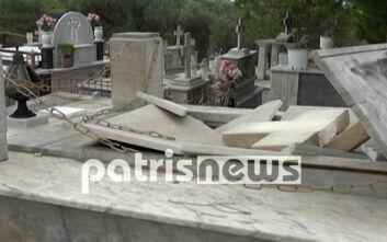 Απίστευτες εικόνες στην Ηλεία: «Άνοιξαν» οι τάφοι από τους θυελλώδεις ανέμους
