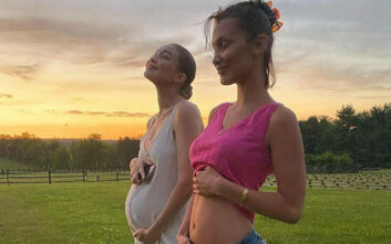 Οι αδελφές Τζίτζι και Μπέλα Χαντίντ έβγαλαν έξω τις κοιλιές τους και τις συγκρίνουν