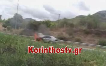 Φωτιά τώρα σε αυτοκίνητο στην εθνική οδό Κορίνθου – Τρίπολης