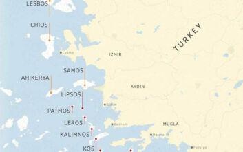 Χάρτης - γράφημα του Anadolou με 18 ελληνικά νησιά: Η Αθήνα παραβιάζει τις συνθήκες Λωζάνης και Παρισίου