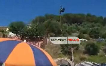 Πάργα: Έκανε «παραπέντε» και κατέληξε πάνω στο παρμπρίζ αυτοκινήτου